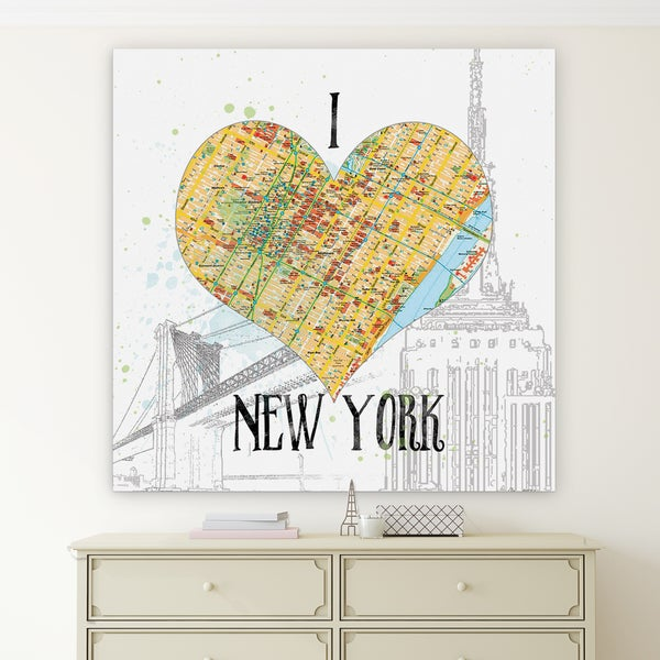 I Love NY Map\' Premium Gallery Wrapped Canvas (4 Sizes Available ...