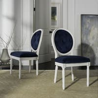 Safavieh Holloway White Tufted Oval Dining Chair (Set of 2)