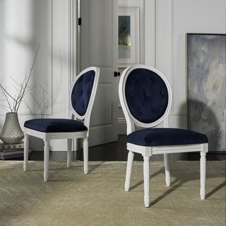 Safavieh Dining Holloway White Tufted Oval Dining Chair (Set of 2)