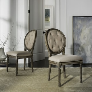Safavieh Holloway Rustic Oak Tufted Oval Dining Chair (Set of 2)