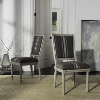 "Safavieh Buchanan 19""H French Brasserie Linen Rect Dining Chair (Set of 2)"