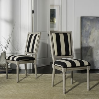 "Safavieh Buchanan 19""H French Brasserie Striped Linen Rect Dining Chair (Set of 2)"
