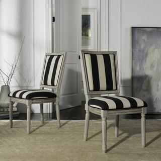 "Safavieh Buchanan 19""H French Brasserie Striped Linen Rect Dining Chair (Set of 2)"