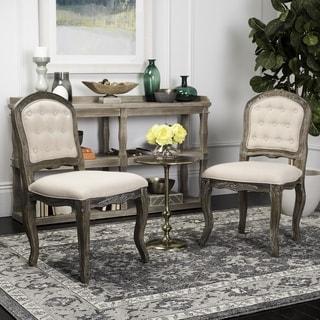 "Safavieh Eloise 20""H Beige / Rustic Oak French Leg Dining Chair (Set of 2)"
