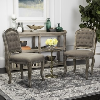 Safavieh Eloise 20''H Dark Brown / Rustic Oak French Leg Dining Chair (Set of 2)
