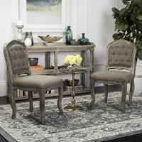 "Safavieh Eloise 20""H Dark Brown / Rustic Oak French Leg Dining Chair (Set of 2)"