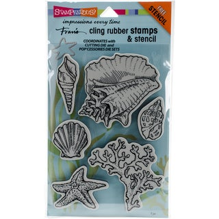 """Stampendous Cling Stamps & Stencils 5""""X7""""-Seashells"""