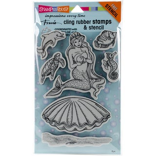 "Stampendous Cling Stamps & Stencils 5""X7""-Mermaid"