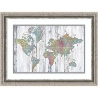 Framed Art Print 'Boho Map II' by Jennifer Goldberger 25 x 19-inch