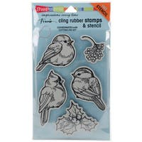 Stampendous Cling Stamps & Stencil 5X7-Winter Tweets