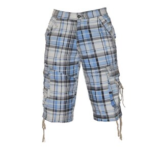 Dinamit Men's Blue Plaid Cotton Printed Cargo Short