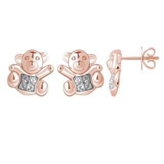 10k Rose Gold White Topaz Teddy Bear Earrings