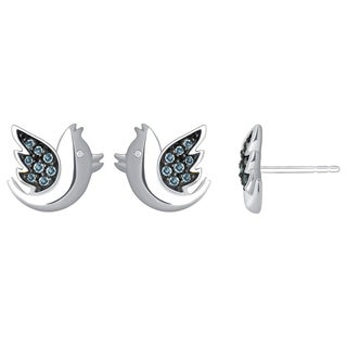 Sterling Silver Aquamarine and Diamond Accent Bird Earrings