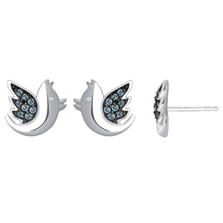 Sterling Silver Aquamarine and Diamond Accent Bird Earrings - Blue