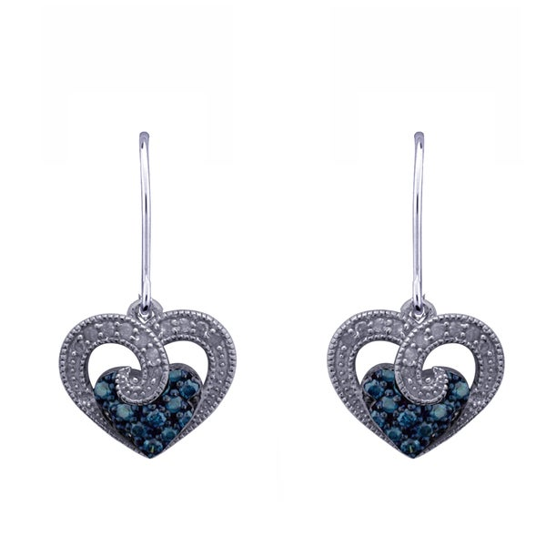 Blue Diamond Heart Earrings In Sterling Silver