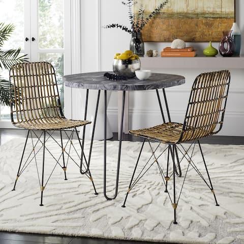 "Safavieh Minerva Wicker Natural Brown Wash Dining Chair (Set of 2) - 18.1"" x 19.7"" x 33.7"""