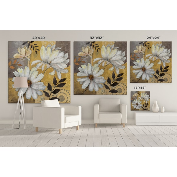 Taupe Spring Poppy Floral Wall Art 2 Piece Set 16/'/'x16/'/'