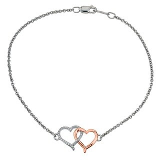 Sterling Silver and 10K Rose Gold Diamond Accent Heart Bracelet