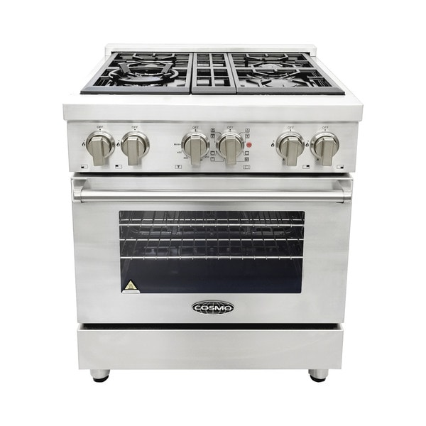 cosmo cosdfr304 30inch dual fuel range with 4 italian gas burners and
