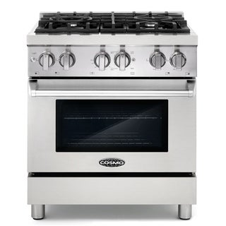 Cosmo COS-DFR304 30-inch Dual Fuel Range with 4 Italian Gas Burners and Electric Convection Oven in Stainless Steel