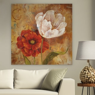'Flower Duet I' Canvas Premium Gallery-wrapped Wall Art