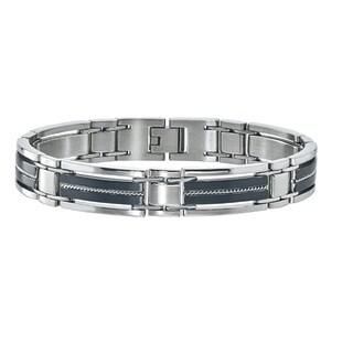 Ever One Men's Black Stainless Steel Braided Bracelet