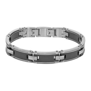 Ever One Stainless Steel Black Ceramic Bracelet