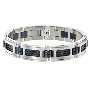Men's Bracelet in Stainless Steel with Black Cable Wires