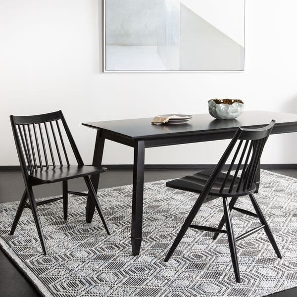 huge selection of 01b2f c1e0c Shop Safavieh Dining 19-inch Wren Black Spindle Dining Chair ...
