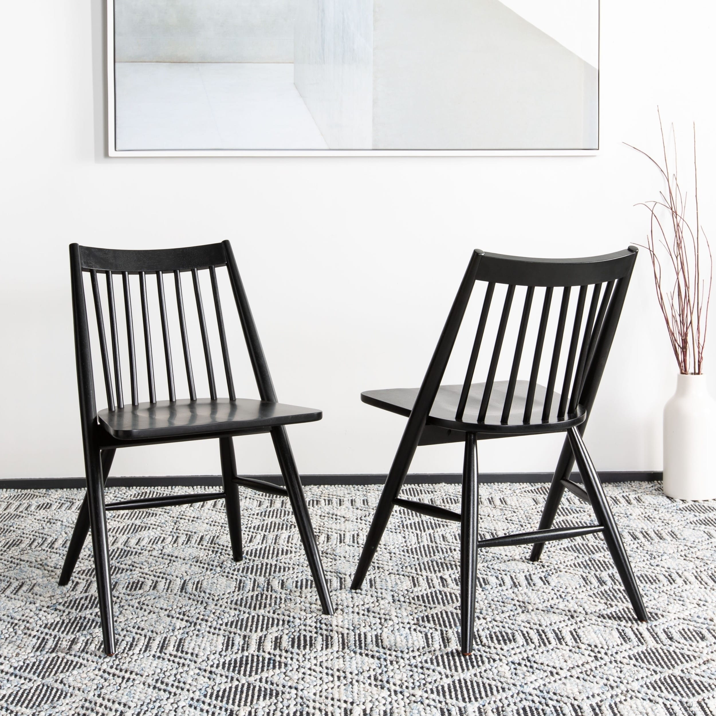 best loved 273c1 a1e80 Safavieh Dining 19-inch Wren Black Spindle Dining Chair (Set of 2)
