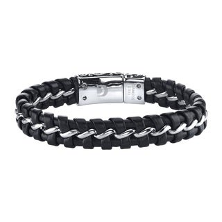 Ever One Men's Black/Silver Braided Leather/Stainless Steel Bracelet