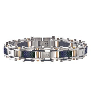 Men's Diamond Bracelet in Stainless Steel