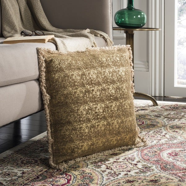 Safavieh Metallic Sponge Golden Caramel Pillow