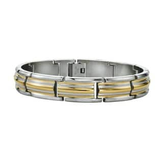 Ever One Men's Yellow and Silver Stainless Steel Double-stripped Bracelet|https://ak1.ostkcdn.com/images/products/14429736/P20996052.jpg?impolicy=medium