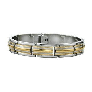 Ever One Men's Yellow and Silver Stainless Steel Double-stripped Bracelet