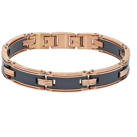 Men's Black Ceramic Rose Stainless Steel Bracelet