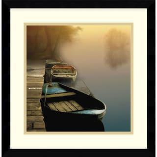 Framed Art Print 'Misty Boats' by Steven Mitchell 17 x 17-inch