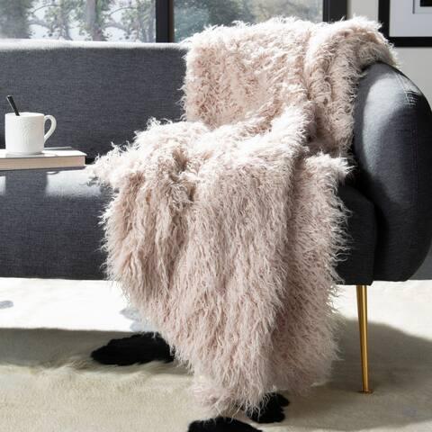 Safavieh Golden Noir Faux Fur Brown 50 x 60-inch Throw Blanket