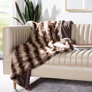 Safavieh Coco Striped Milk / Chocolate Throw