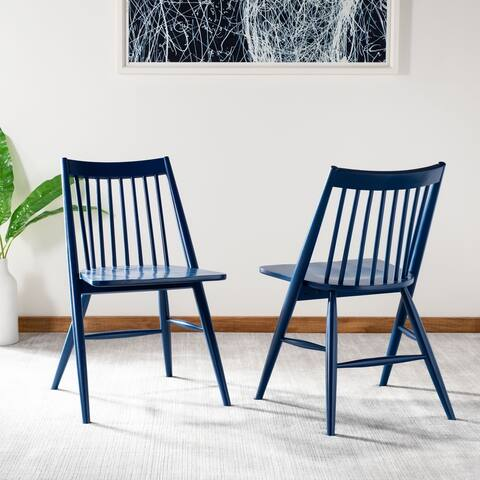 SAFAVIEH Dining 19-inch Wren Navy Spindle Dining Chair (Set of 2)