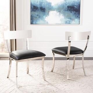 Safavieh Abby Glam Black/ Silver Chrome Dining Chair (Set of 2)