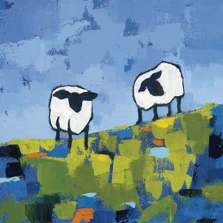 Hobbitholeco Phyllis Adams 'Two Sheep' Gel Brush Finish Gallery Wrapped Canvas Wall Art Decor