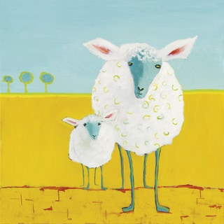 Phyllis Adams 'Mama and Baby Sheep' Gallery-wrapped Gel Brush Finish Canvas Wall Art Decor