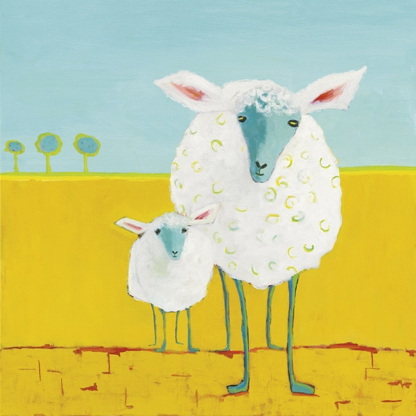 Phyllis Adams \'Mama and Baby Sheep\' Gallery-wrapped Canvas Print ...