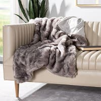 Safavieh Faux Pheasant Taupe/ Charcoal 50 x 60-inch Throw Blanket