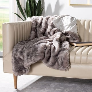 Safavieh Faux Pheasant Taupe / Charcoal Throw
