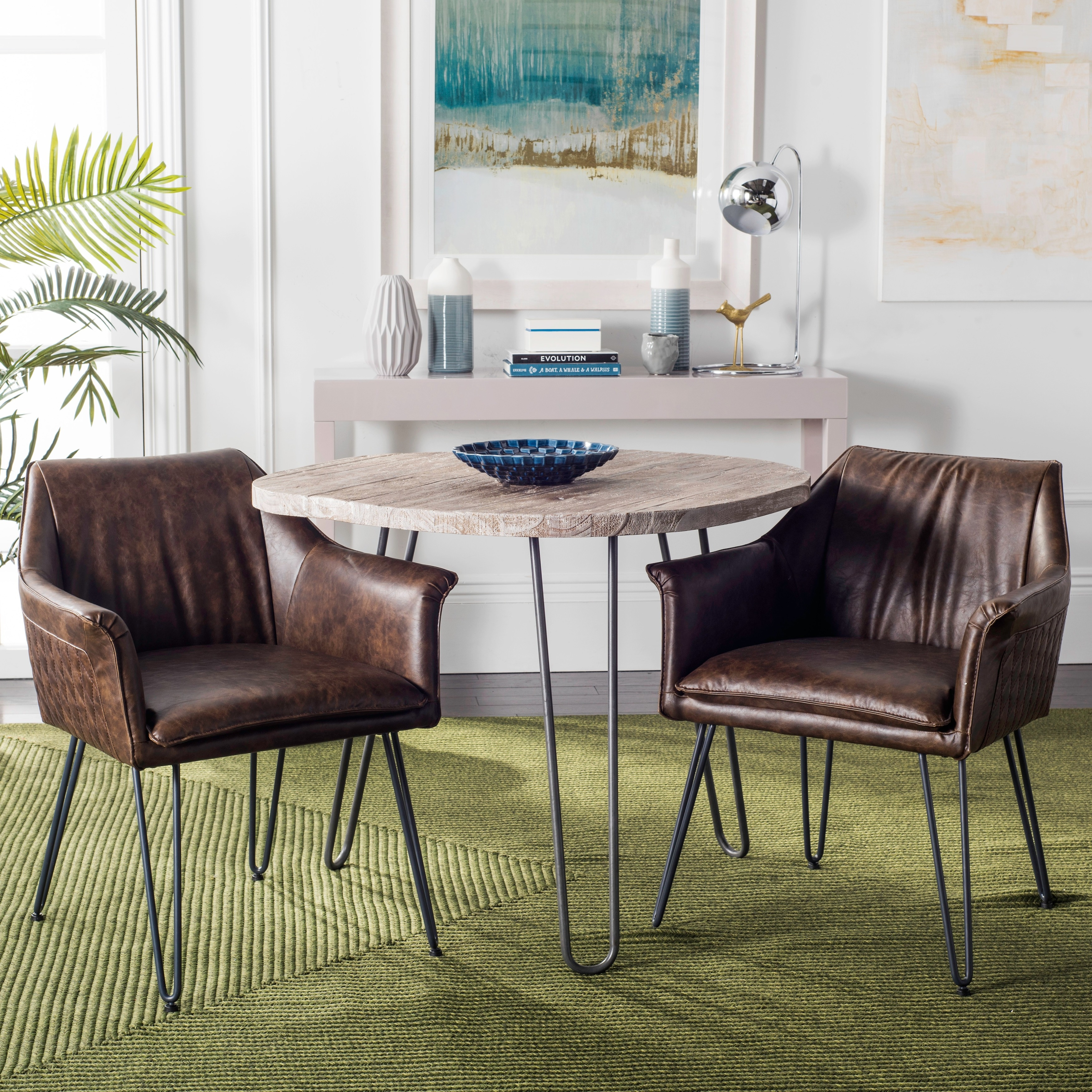 Safavieh Dining 19-inch Esme Brown Leather Dining Chair (Set of 2)