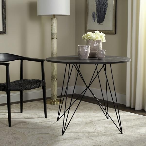 Black Circle Dining Table Part - 49: Safavieh Marino Dark Grey / Black Round Dining Table
