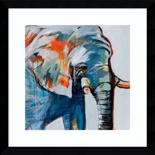 Framed Art Print 'Mr. Silver Hair (Elephant)' by Angela Maritz 17 x 17-inch