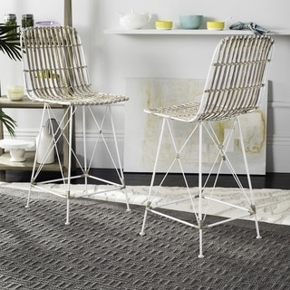 Safavieh Minerva Wicker White Wash Counter Stool (Set of 2)